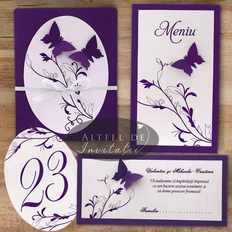 Invitatii de nunta personalizate Zbor de fluturi