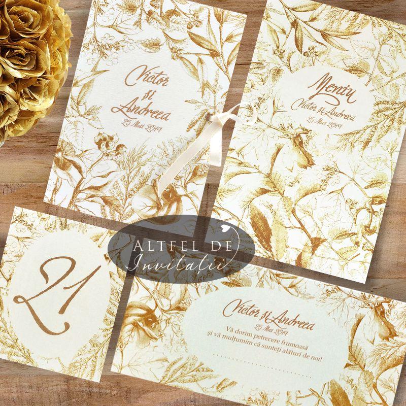 Set complet de papetarie pentru nunta Sarutul soarelui auriu