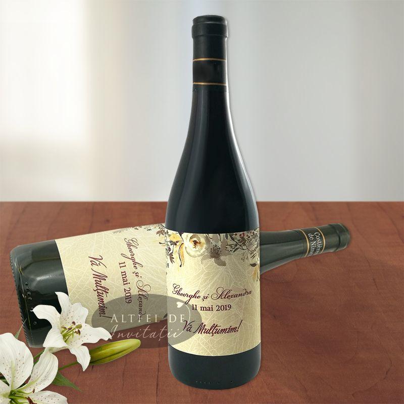 Eticheta marturie pentru sticla de vin