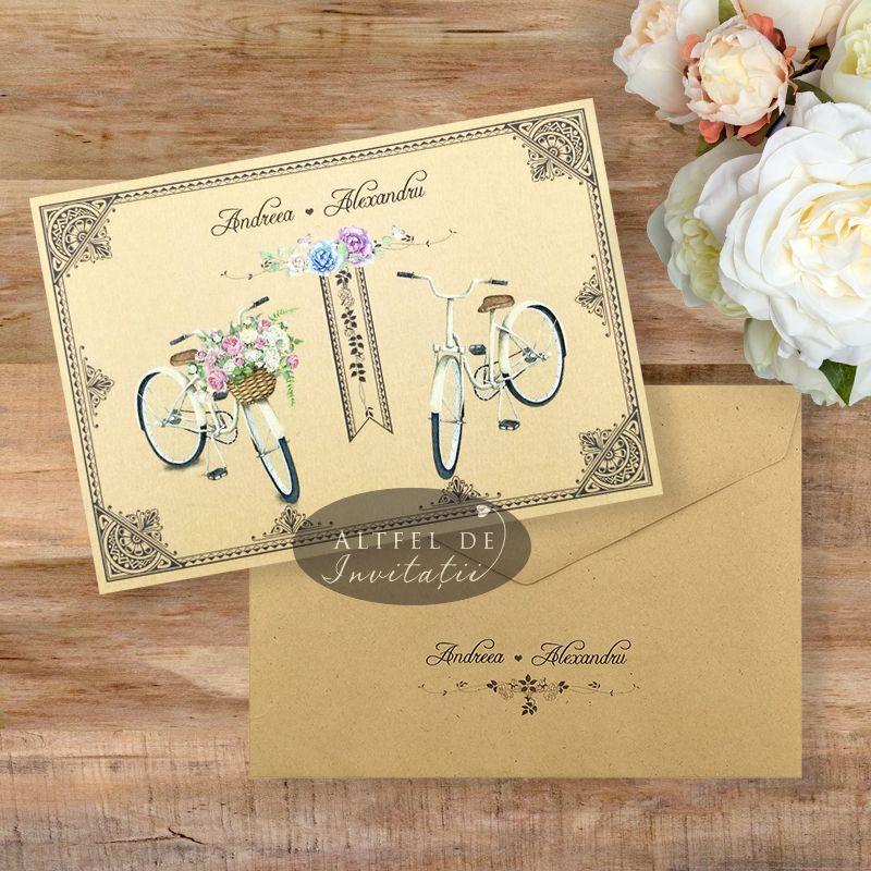 Invitatie nunta Maraton pe bicicleta cu plic special inclus