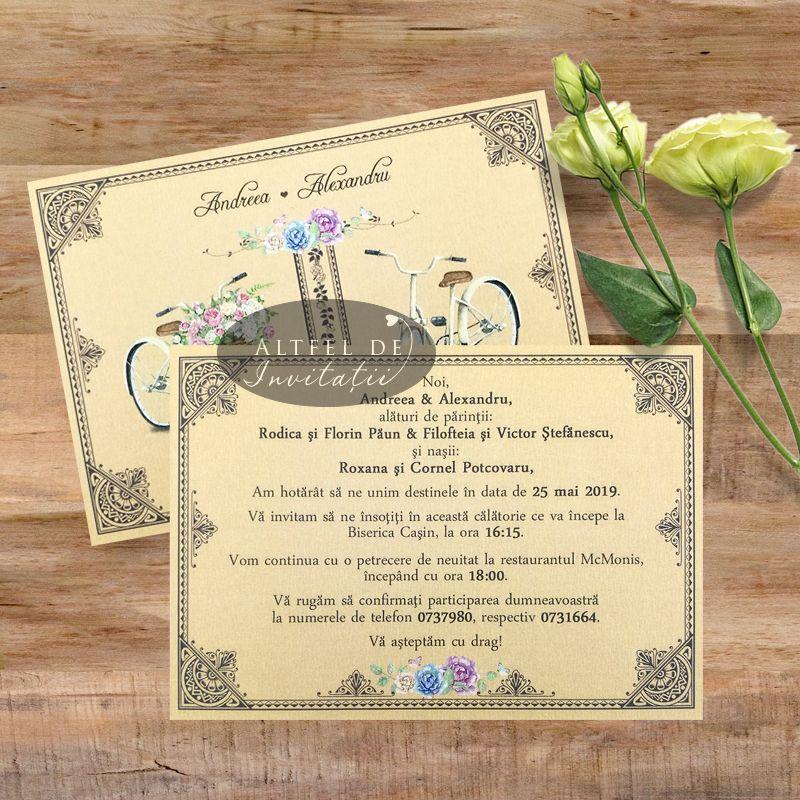 Invitatie de nunta Maraton pe bicicleta - verso