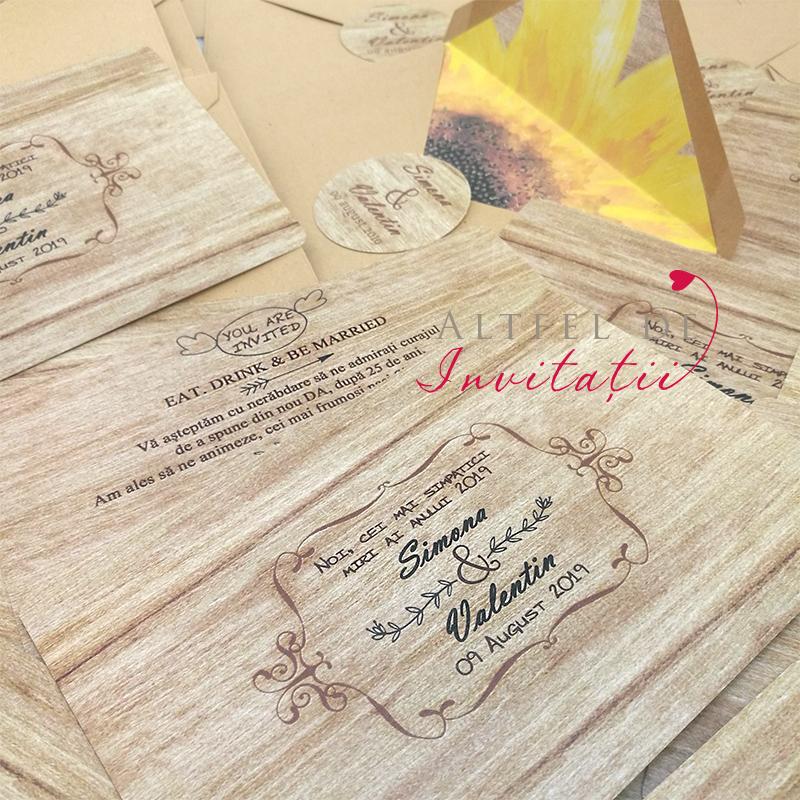 Invitatie nunta Rustica Floarea Soarelui personalizata