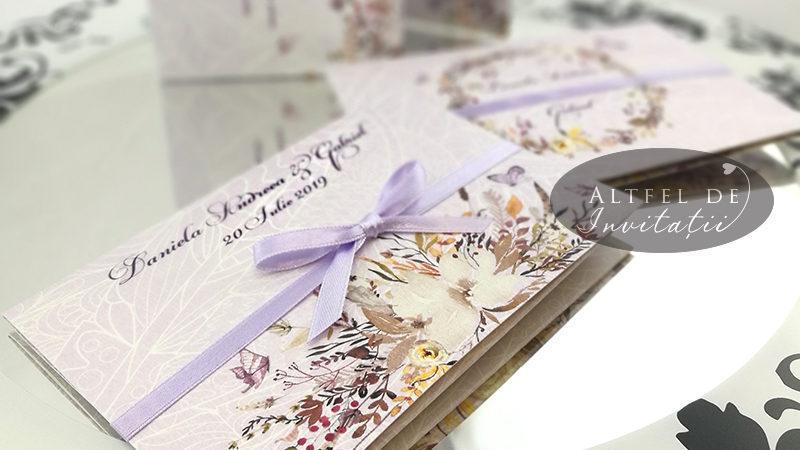 Set complet de papetarie pentru nunta Dragoste la prima vedere personalizat in nuante de lila